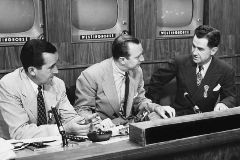 Newscasters Edward R. Murrow, Walter Cronkite and Lowell Thomas in the 1950s. © Corbis