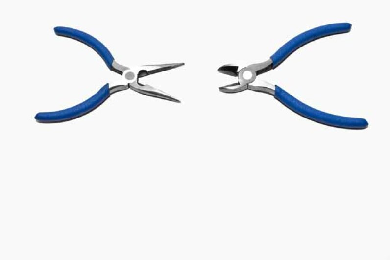 Two varieties of pliers on display here: The one on the left is a wire cutter and the one on the right can grip larger objects. Fuse/Thinkstock