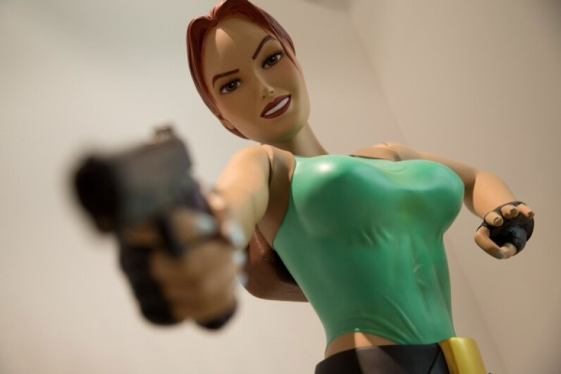 Lara Croft's buxom figure made many gamers hope the nudity cheat was real. © Jörg Carstensen/dpa/Corbis
