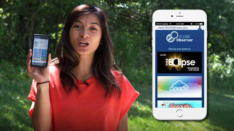 The public will have an opportunity to participate in a nationwide NASA science experiment by collecting cloud and temperature data on their phones using the Global Learning and Observations to Benefit the Environment (GLOBE) Observer app, both during and after the Aug. 21, 2017, total solar eclipse. NASA Goddard/YouTube/Screenshot: HowStuffWorks