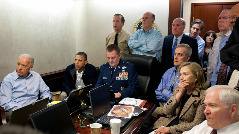 President Barack Obama (second from left), Vice President Joe Biden (left), Secretary of State Hillary Clinton and members of the national security team receive an update on the assassination of Osama bin Laden in the Situation Room of the White House, May 1, 2011. Pete Souza/The White House via Getty Images