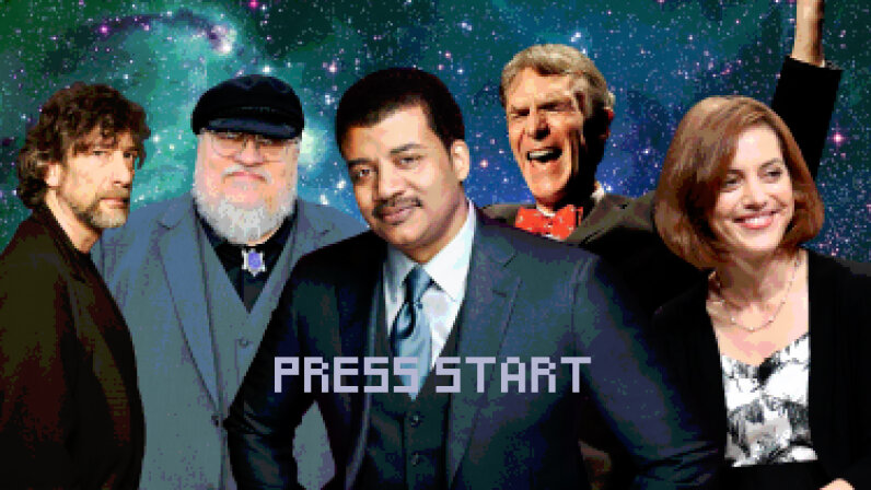 Astrophysicist Neil deGrasse Tyson (center) has recruited some big names from the fields of literature and science, including (L to R) authors Neil Gaiman and George R. R. Martin, science educator Bill Nye and astronomer Amy Mainzer to help design a new video game. FilmMagic/Fox/Ulf Andersen/Steve Jennings/Frederick M. Brown/Getty Images