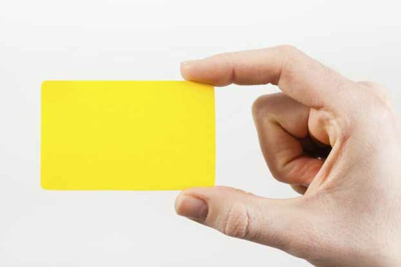 Try using an eyecatching color or shape for your business card to help it stand out. iStockphoto/Thinkstock