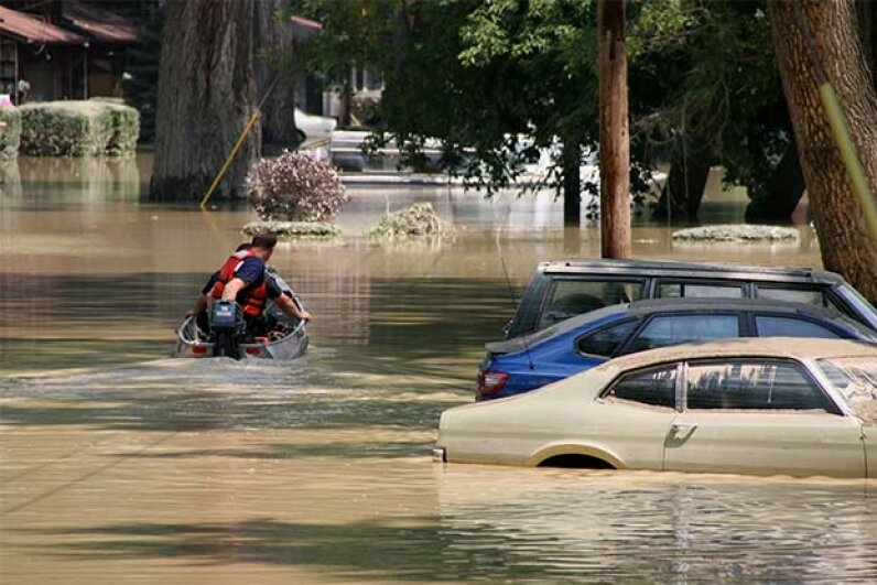 As little as 6 inches of rising water can sweep a person off his feet, while just 18 inches can carry a car away. Jerry Sharp/iStock/Thinkstock