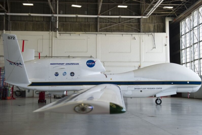 This NASA Global Hawk UAV is used for tropical storm and hurricane flyovers. © SAUL LOEB/AFP/Getty Images