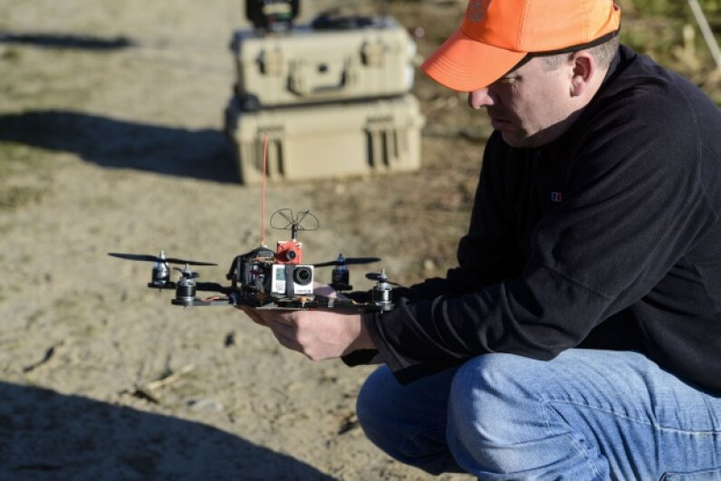 This PETA drone, which is intended to capture footage of illegal hunting, was tested at the Erwin Wilder Wildlife Management Area in Norton, Mass. in October 2013.  © Leigh Vogel/Getty Images