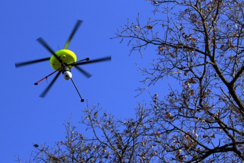 During a training exercise simulating a nuclear accident, a drone equipped with cameras and sensors is deployed to assess contaminated areas. © JEAN-PAUL PELISSIER/Reuters/Corbis