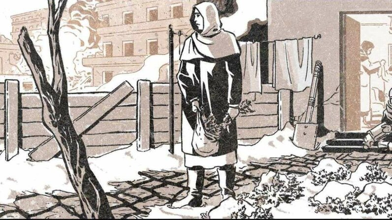 """A drawing from """"Madaya Mom,"""" a new comic that depicts life in the besieged Syrian town of Madaya. The comic is based on the perspective of an actual mother of five children from Madaya who shared her experiences of living in the war-torn region with AB... ABC News/Marvel"""