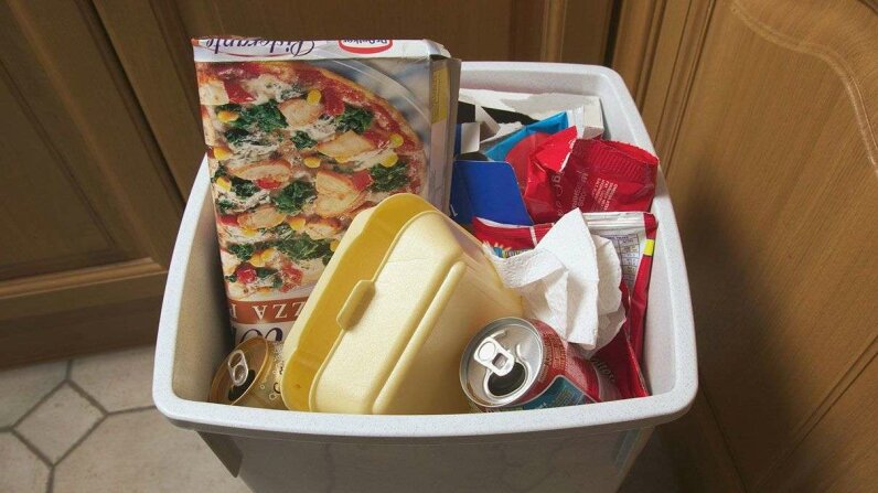 pizza box, soda can, garbage bin