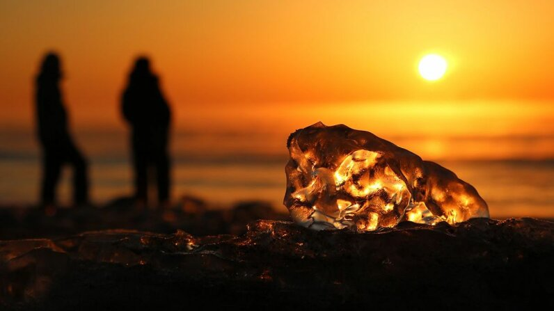 """The northern beaches of Hokkaido experience an annual visit from crystal-clear """"jewelry ice"""" that washes up onshore. Toyoko-cho Tourism"""