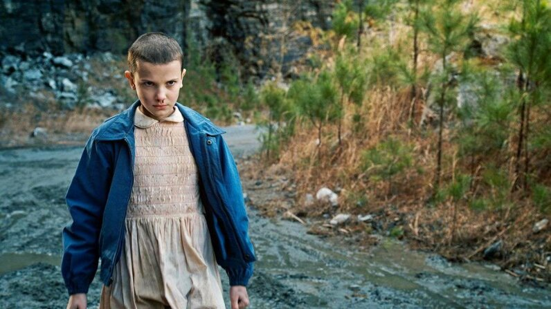 "The character Eleven (Millie Bobby Brown) in the 2016 series ""Stranger Things"" bleeds from her nose when she employs her telekinesis. Netflix"