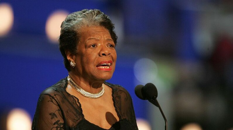 Poet and activist Dr. Maya Angelou addresses the Democratic National Convention in Boston 2004. Matthew J. Lee/The Boston Globe via Getty Images
