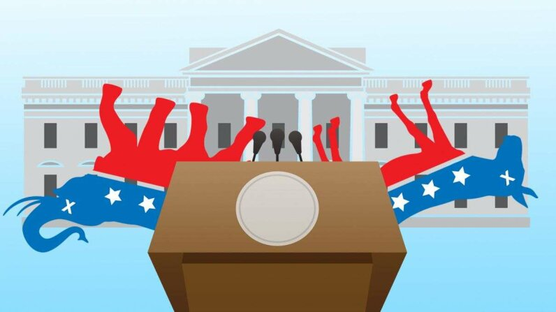 Democratic Donkey and Republican Elephant Hooves Up at the White House