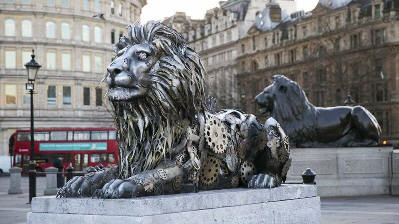 Television personality Rachel Riley unveiled the clockwork lion statue in London's Trafalgar Square on Thursday, Jan. 28. REUTERS
