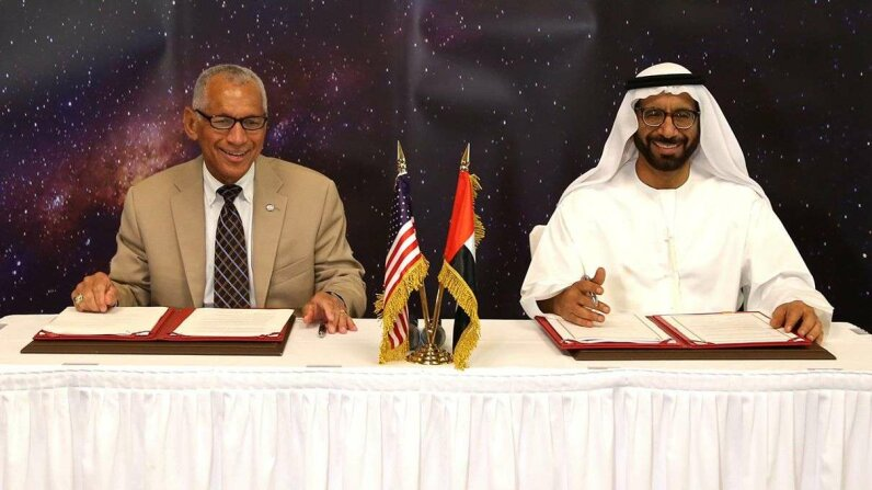 NASA Administrator Charles Bolden and UAE Space Agency Chairman Dr. Khalifa Al Romaithi formalized and signed the agreement Sunday at a meeting in Abu Dhabi. NASA