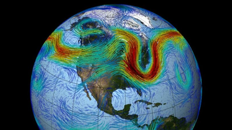 The Northern Hemisphere's polar jet stream is a fast-moving belt of westerly winds, and is created by the convergence of cold air masses descending from the Arctic and rising warm air from the tropics. NASA/Goddard Space Flight Center