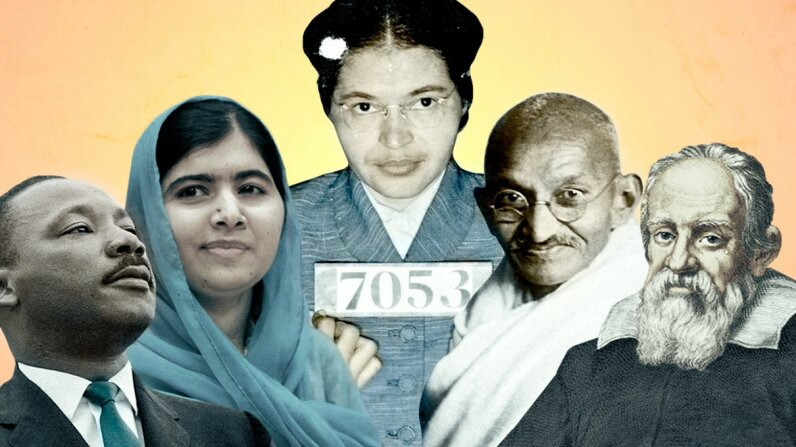 Peacful disruption of the status quo, for the good of society? Look to icons like Martin Luther King, Malala Yousafzai, Rosa Parks, Mahatma Gandhi and Galileo Galilei. Photo 12/Film Magic/Stephen F. Somerstein/Ulstein Bild/Getty