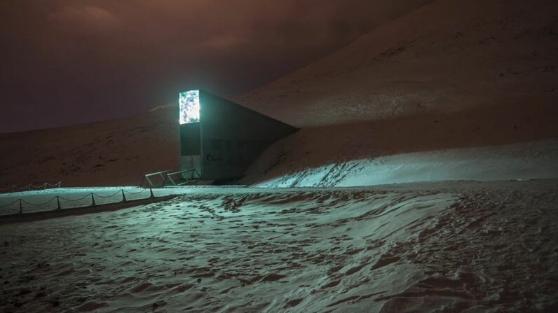 The Arctic World Archive can be found on the same mountain as the Svalbard Global Seed Vault pictured here. The archive opened on March 27, 2017. Crop Trust