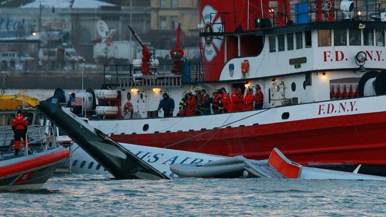 U.S. Airways Flight 1549 gets an assist from a New York City Fire Department boat on Jan. 15, 2009, the same day it ditched in to the Hudson River. Mario Tama/Getty Images