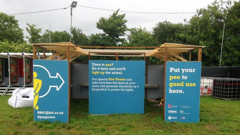 The public urinal installed this year at Glastonbury festival can generate enough electricity to light the cubicle's LED tubes. Bristol BioEnergy Centre