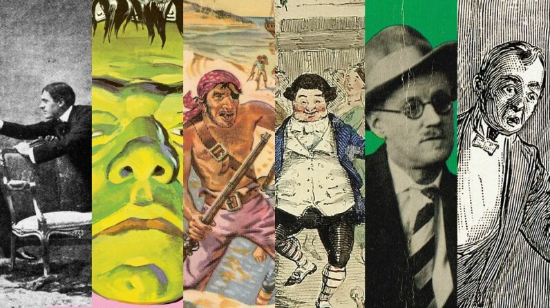 "Can you guess which pictures belong to which books? From left to right, that's ""The Importance Of Being Earnest,"" ""Frankenstein,"" ""Treasure Island,"" ""A Christmas Carol,"" ""Dubliners"" and ""The Picture of Dorian Gray."" Wikimedia Commons/CSA Images/Getty Images"