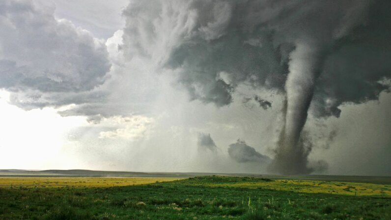A tornado photographed near Campo, Colorado, touches down in a field of wildflowers. Cultura RM Exclusive/Jason Persoff Stormdoctor/Getty Images