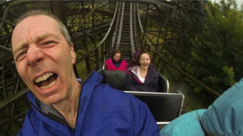 Is he having fun on a roller coaster, passing a kidney stone or both? Christopher Murray/EyeEm/Getty Images