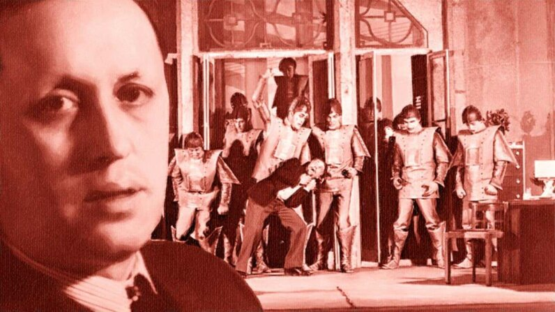 """The playwright Karel Capek in front of his famous play """"R.U.R.,"""" the one that introduced the world to the word """"robot."""" Corbis/Wikimedia Commons"""