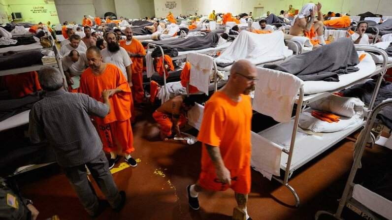 Inmates at California's Chino State Prison in December 2010 in a gymnasium that was modified to house prisoners. Kevork Djansezian/Getty Images