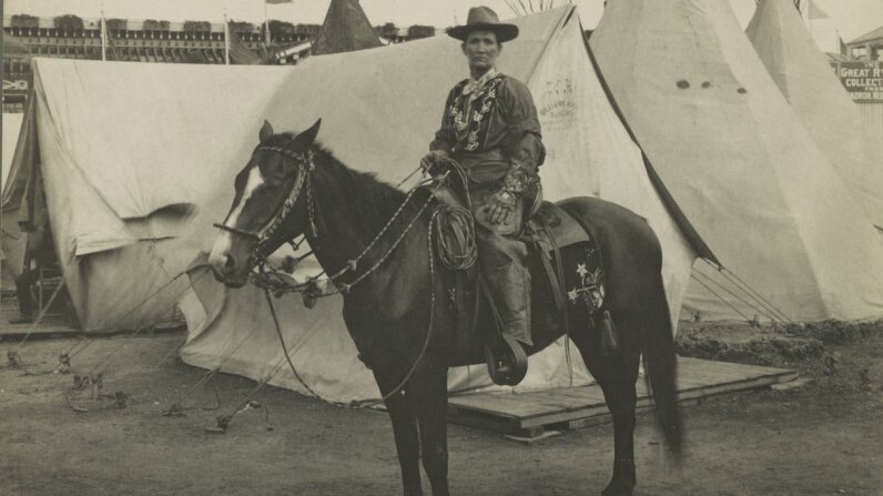 Calamity Jane, looking fierce as always, on horseback circa 1901. Library of Congress, LC-DIG-ds-05299