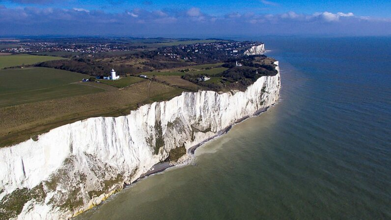 The White Cliffs of Dover are the closes point in England to France, and the Dover Strait is the site of what was once a land bridge connecting to the European mainland. Ben Pruchnie/Getty Images