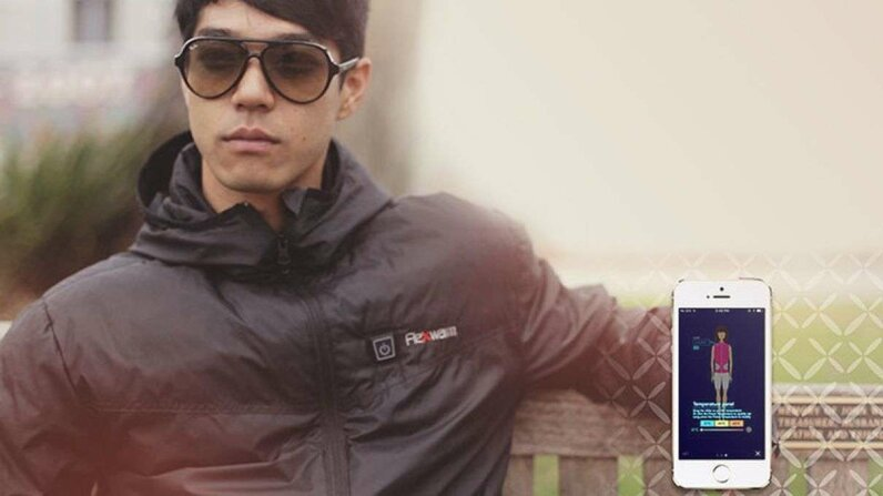 Flexwarm lets you control your jacket from your smartphone. Flexwarm