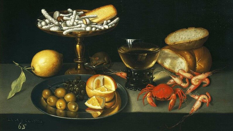 DeAgostini/Getty Images A circa-1590 painting by Francesco Codino depicted candies, lemon, crab, lemons, capers and more.