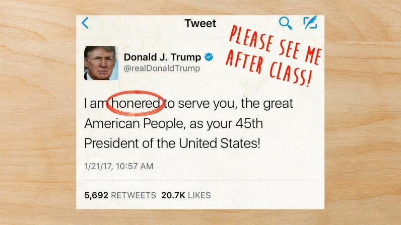 """Donald Trump misspelled """"honored"""" in a tweet the day after being inaugurated. He deleted it shortly after and replaced it with a correct tweet. Screenshot by HowStuffWorks"""
