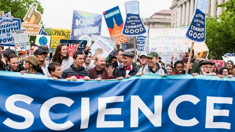 Bill Nye and other pro-science protestors lead the March for Science through the streets of Washington, D.C., on Saturday, April 22. Bill Clark/CQ Roll Call/Getty Images