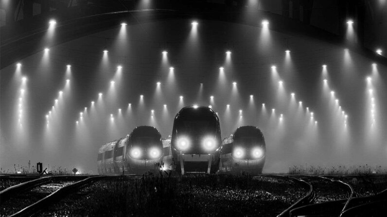 Trains at night
