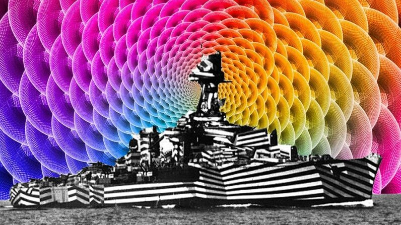 The French ship Gloire, in this 1940 image, used dazzle camouflage. Universal History Archive/Getty Images/hldrmn/Flickr