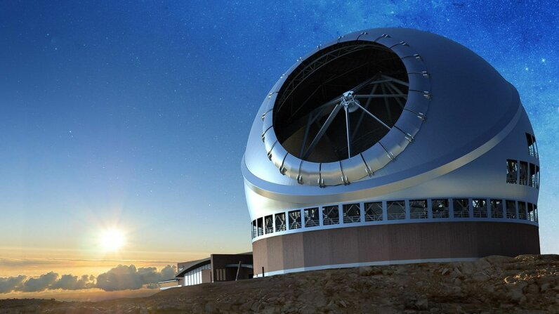 A rendering of the Thirty Meter Telescope that will be used to seek out biosignatures on exoplanets. It could be up and running by the late 2020s. Caltech/IPAC-TMT