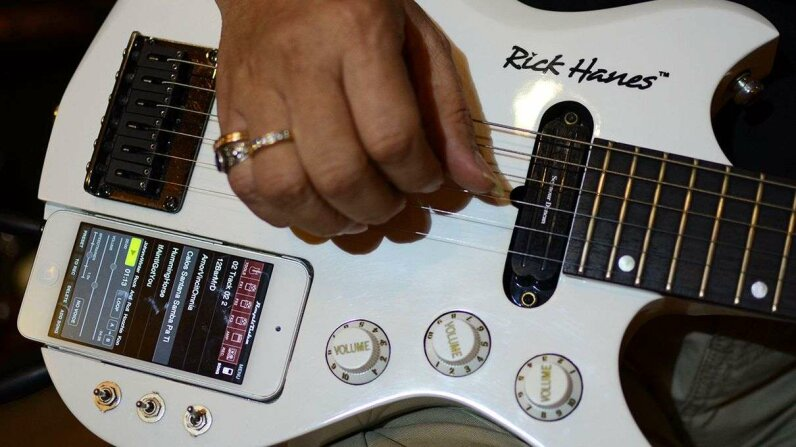 A guitar that works with an iPhone created at the Rick Hanes guitar factory in Sidoarjo, Indonesia. Arief Priyono/Getty Images