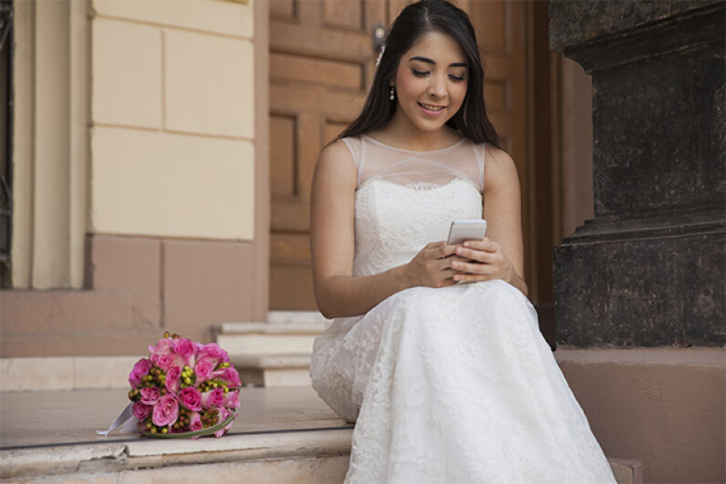 A congratulatory text on your upcoming wedding from a close friend isn't going to cut it. It's acceptable from an acquaintance. Antonio_Diaz/iStock/Thinkstock