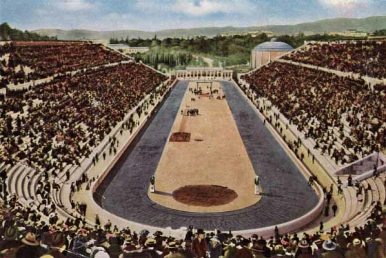 The Olympic stadium in Athens that was the scene of the 1896 games. Hulton Archive/Getty Images