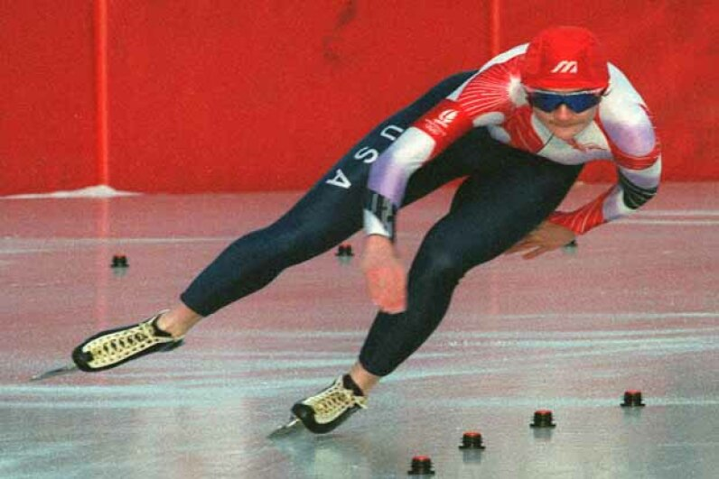 United States speed skater Bonnie Blair glides around a curve during the women's 1000 meters at the Albertville Olympics on her way to a gold medal. MARIO GOLDMAN/AFP/Getty Images