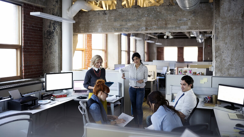 workers in open office