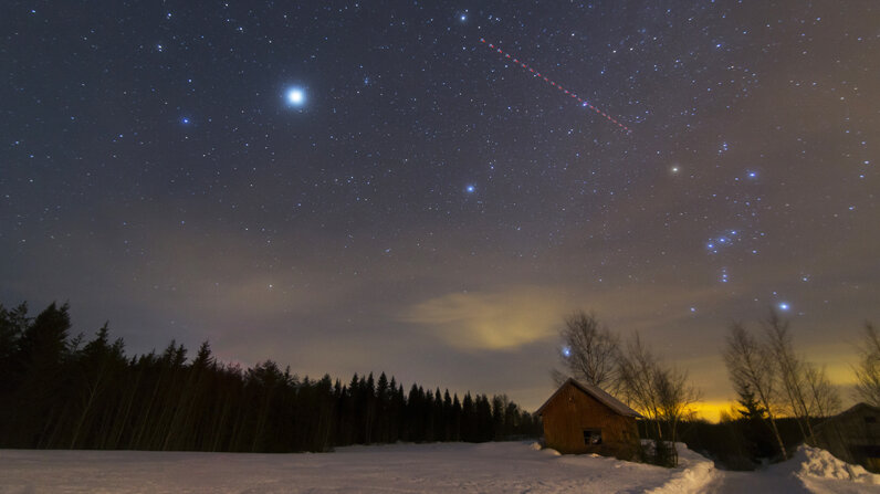 night sky, meteor shower, orion