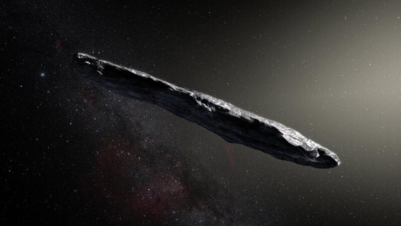 An artist's impression of the comet visitor 'Oumuamua