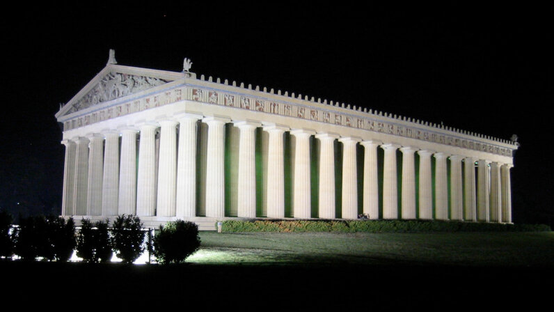 Nashville Parthenon at night