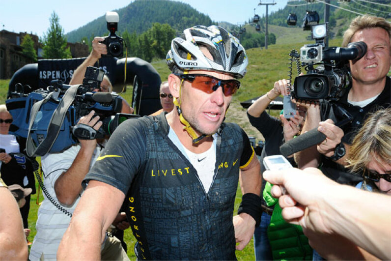 Lance Armstrong finishes the Power of Four Mountain Bike Race on Aspen Mountain on Aug. 25, 2012, in Aspen, Col. Armstrong has admitted to taking performance-enhancing drugs. See more sports pictures. Riccardo S. Savi/Getty Images