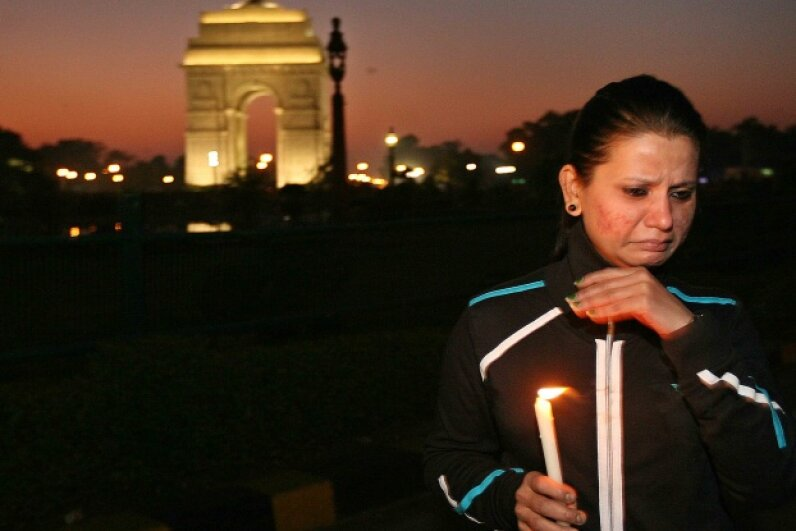 Dec. 20, 2012: A woman breaks down while protesting against the rape and brutal assault of a 23-year-old woman in Delhi, India. The victim later died from her injuries, but her death sparked massive public protests in India and renewed focus on gender-based violence. Ramesh Sharma/India Today Group/Getty Images