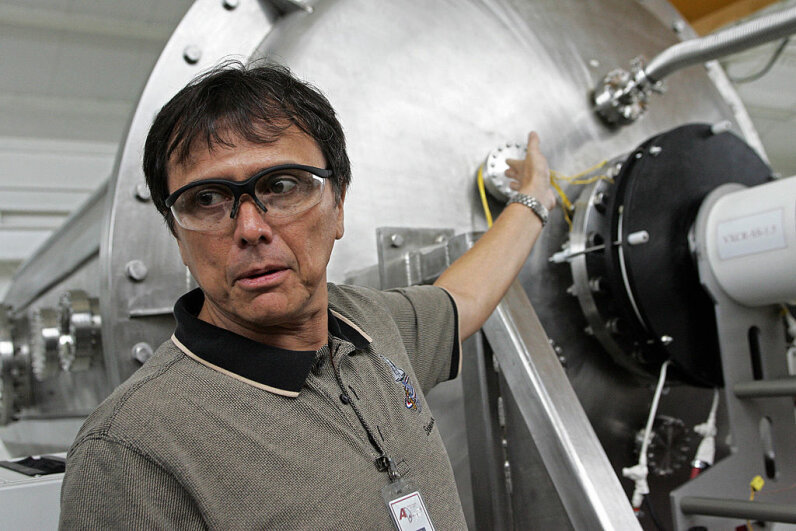 Costa Rican astronaut and physicist Franklin Chang Diaz explains the evolution of his plasma engine project. MAYELA LOPEZ/AFP/Getty Images