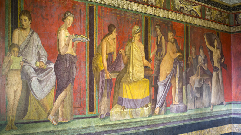 frescoes in the Villa of Mysteries in Pompeii